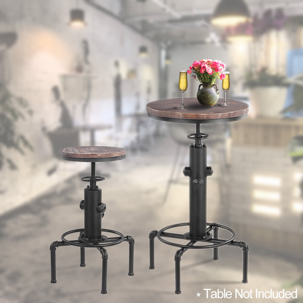 ikayaa metal industrial bar stool height adjustable swivel pinewood top kitchen dining chair pipe style barstool w footrest