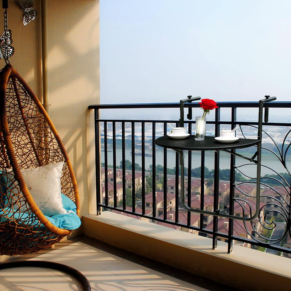 IKayaa Adjustable Folding Balcony Deck Table Hanging Patio Sales Online    Tomtop.com