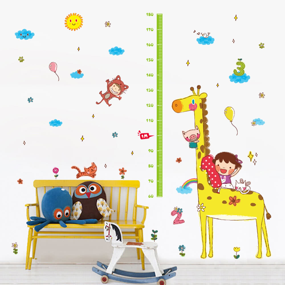 cute height chart wall sticker removable lovely animals girl any greasy dirt or water will influence the perfection of the sticker the wall stickers can be free combination to meet your demand