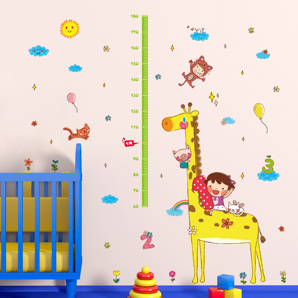 cute height chart wall sticker removable lovely animals girl cute height chart wall sticker removable lovely animals girl wallpaper art decal room decoration reusable peel and stick wall sticker wall height chart