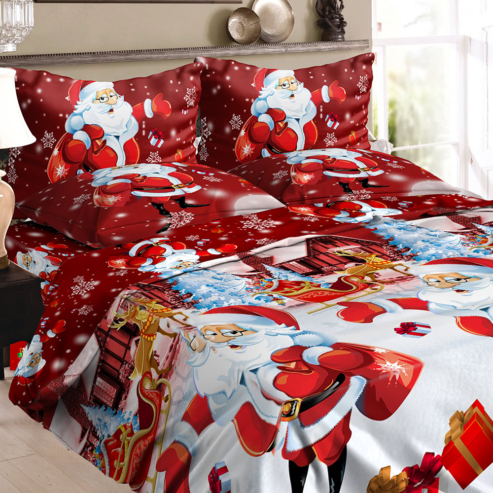Christmas Santa Bedding Set Polyester 3d Printed Duvet