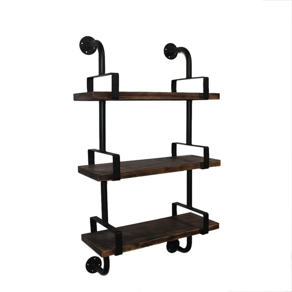 ikayaa 3 tier rustikale industrie eisen rohr wand regale. Black Bedroom Furniture Sets. Home Design Ideas