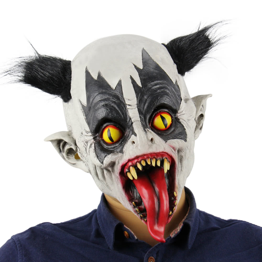 latex full head creepy bat clown mask toothy scary ghost