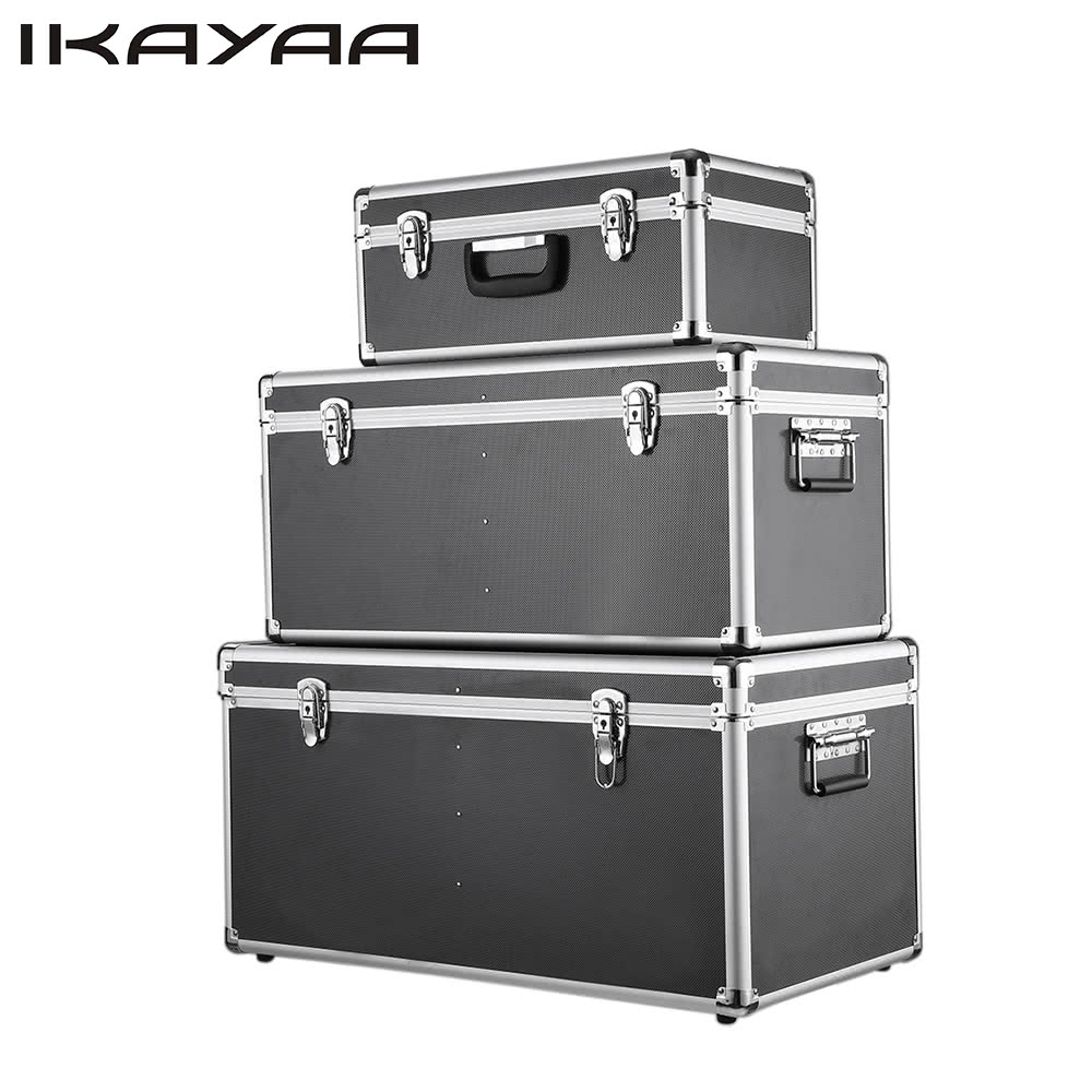 ikayaa 3pcs aluminum tool boxes case lockable storage boxes container size with handles - Lockable Storage Box