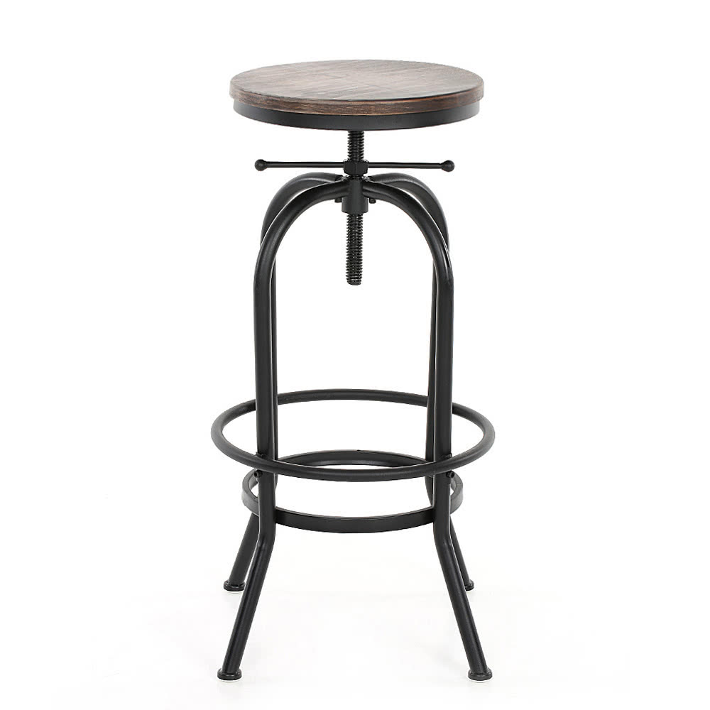 iKayaa Industrial Style Height Adjustable Swivel Bar Stool Natural Pinewood Top Kitchen Dining Breakfast Chair  sc 1 st  Tomtop.com : adjustable swivel stools - islam-shia.org