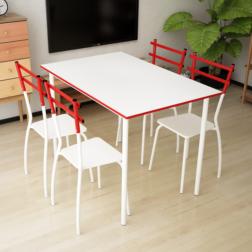 iKayaa 5-Piece Modern Metal Dining Set
