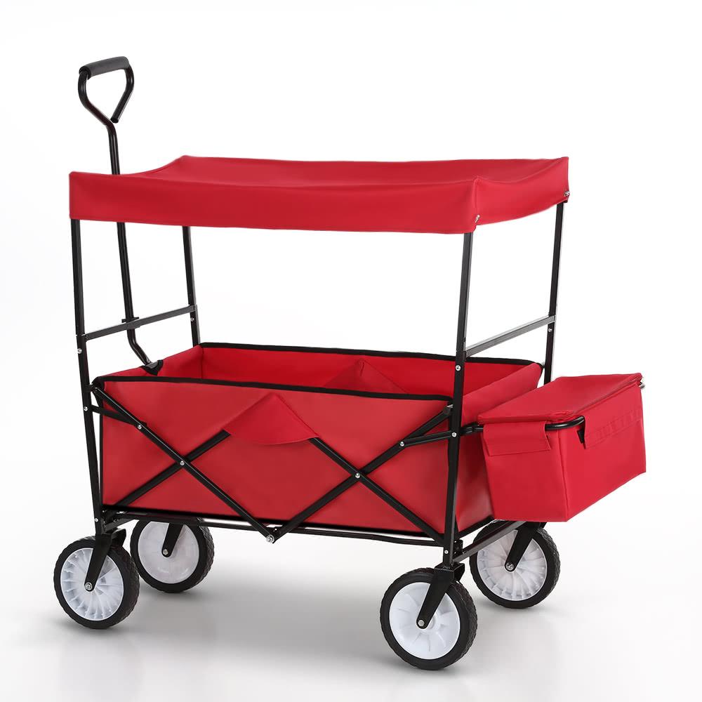ikayaa folding utility wagon w canopy collapsible outdoor camping shopping beach wagon sports garden cart