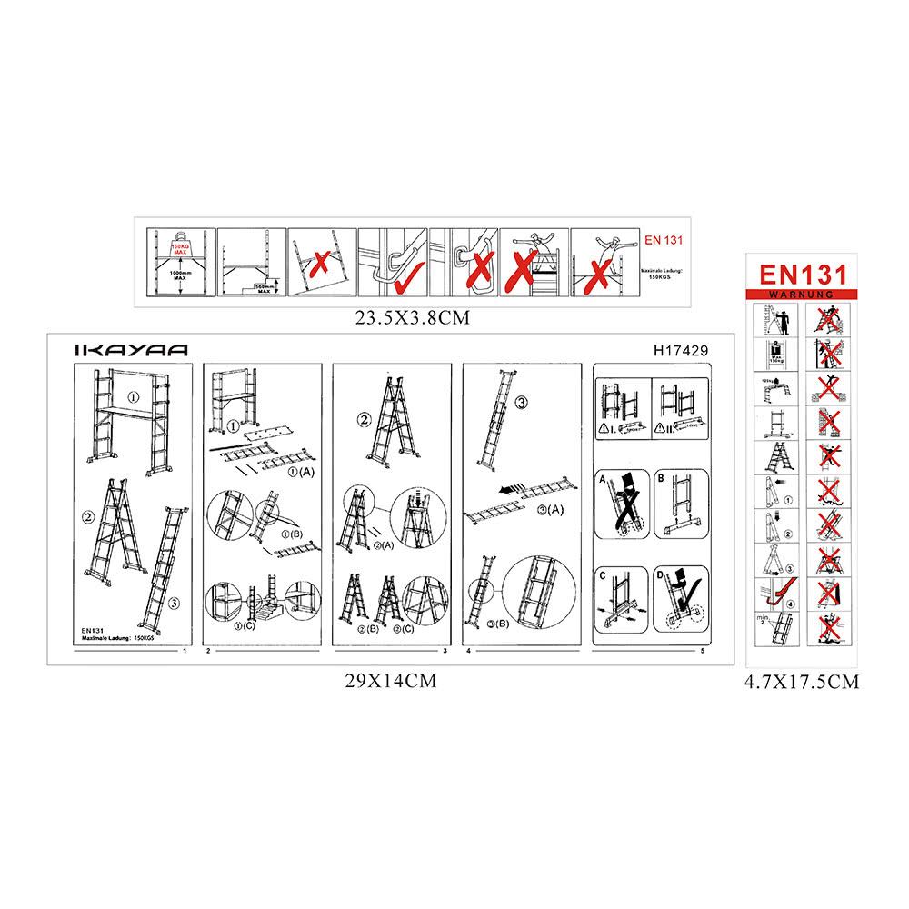 Ikayaa 4 In 1 Diy Multi Purpose Step Ladder Scaffolding