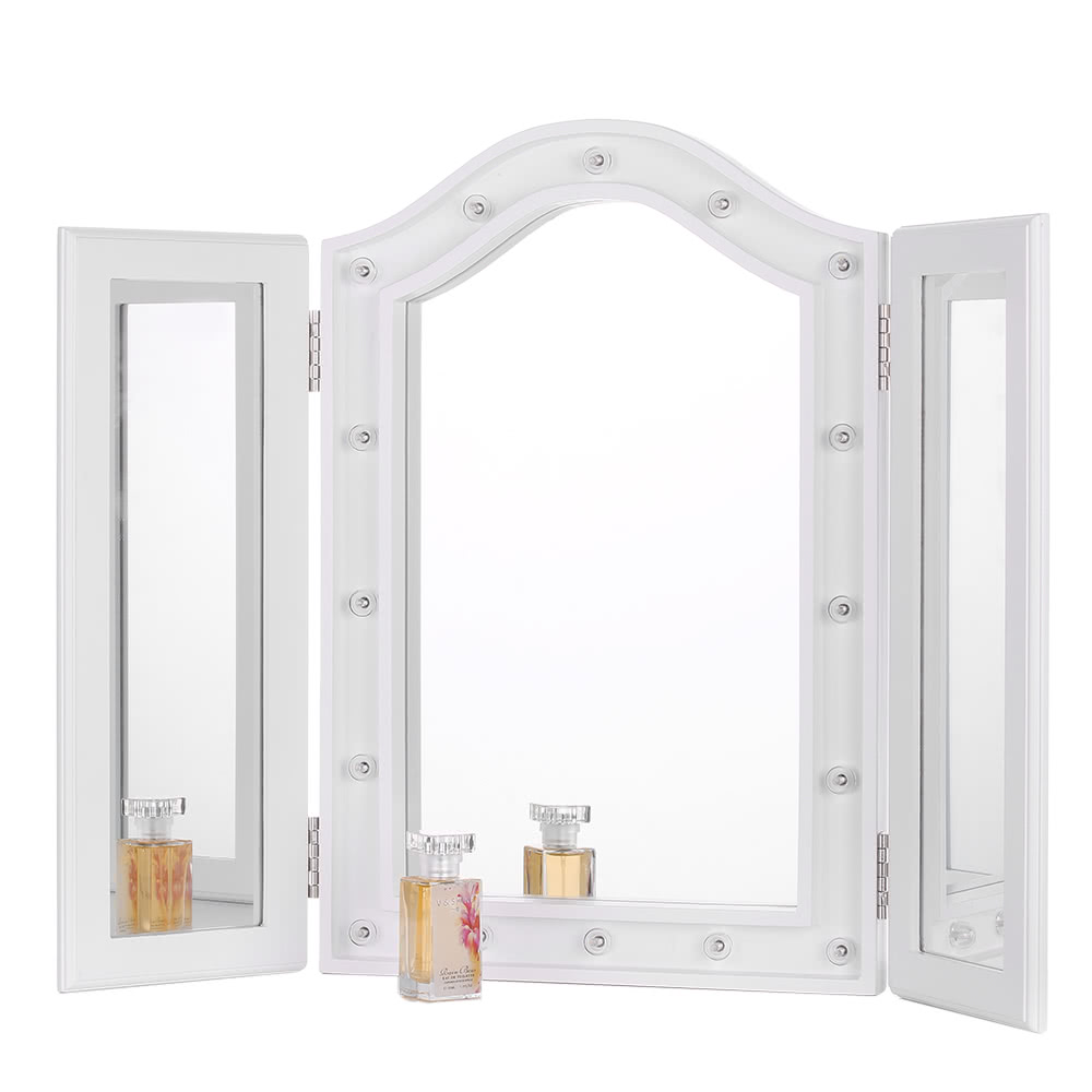 IKayaa LED Lighted Trifold Vanity Mirror Stand Folding Countertop Cosmetic  Makeup Mirror Table Marquee Beveled EdgeiKayaa LED Lighted Trifold Vanity Mirror Stand Folding Sales  . Mirror On A Stand Vanity. Home Design Ideas