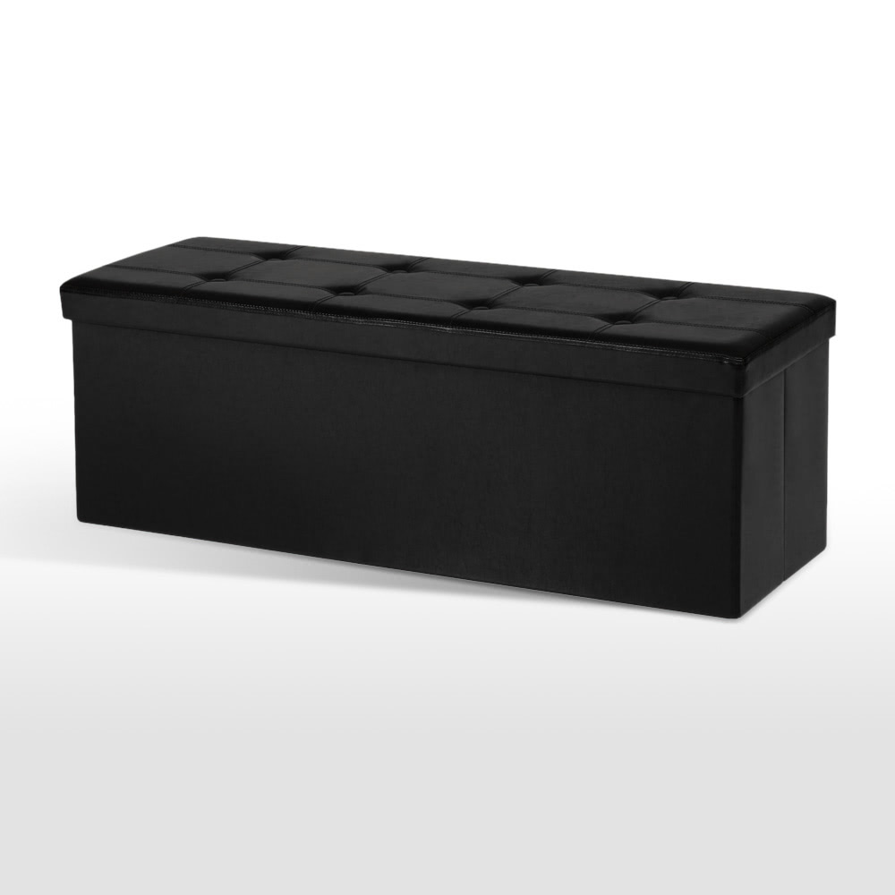 Only US$25.99, black iKayaa Large Folding Faux Leather Storage Ottoman Sofa  Foot - Tomtop.com - Only US$25.99, Black IKayaa Large Folding Faux Leather Storage