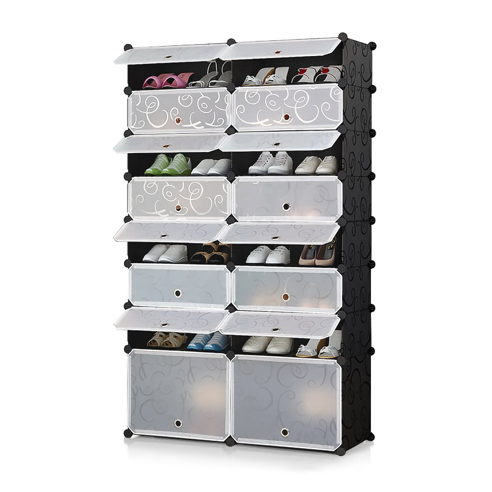 iKayaa Multi-Use 32 Pairs DIY Cube Plastic Shoes Rack 16 Grids Shoes Storage Cabinet Organizer Bookcase Water-Proof Toy Cloth Closet with Door