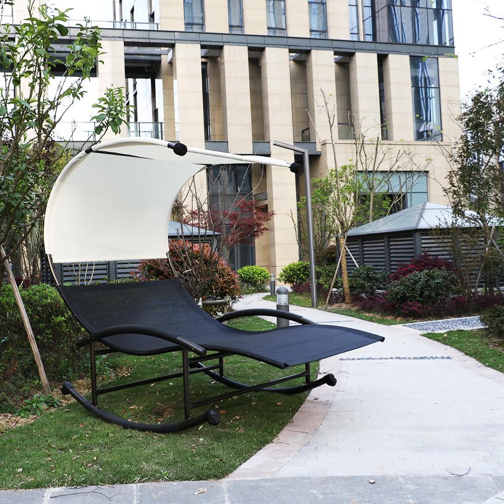 iKayaa Outdoor Double Chaise Rocker W Canopy Textilene Garden