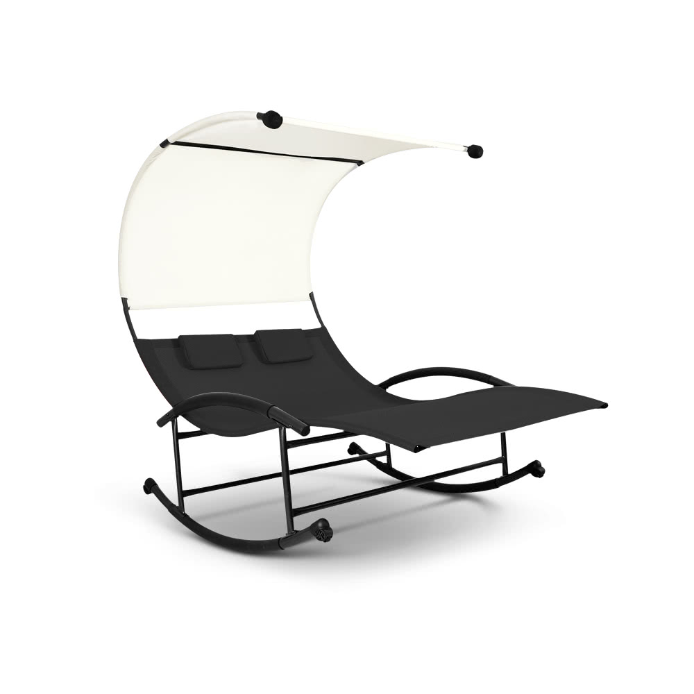 Outdoor double lounge chair - Ikayaa Outdoor Double Chaise Rocker W Canopy Textilene Garden Black Tomtop Com