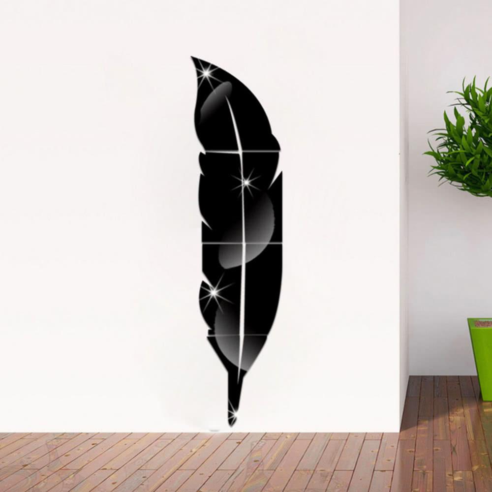 plume amovible miroir adh sif 3d mur salon chambre salle. Black Bedroom Furniture Sets. Home Design Ideas