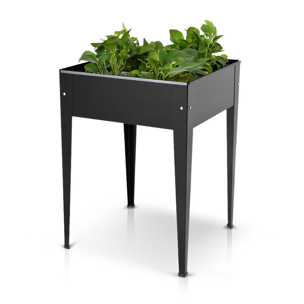 IKayaa Metal Patio Elevated Garden Planter Box Flower Raised Sales Online  Black   Tomtop.com