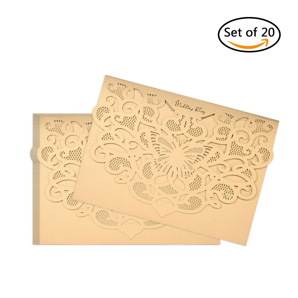 20pcsset Wedding Invitation Cards Pearl Paper Laser Cut Hollow – Paper Invitation Cards