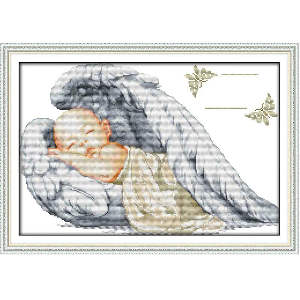 Вышивка метрики ангелочков