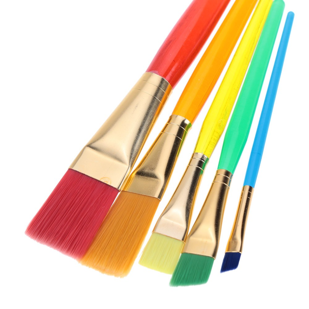 5pcs Flat Nylon Hair Paint Brush Set Plastic Handle ...