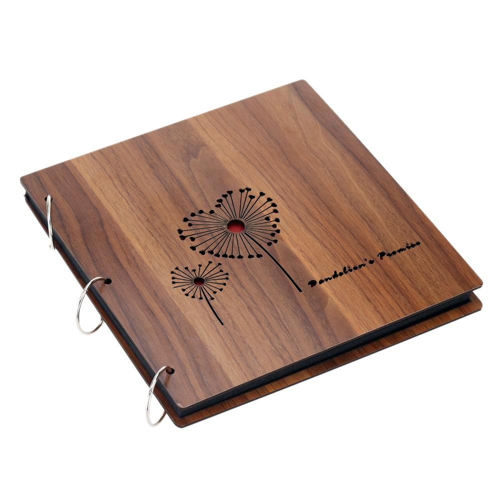 26*26cm Creative Vintage DIY Loose-leaf Photo Album Scrapbook Autograph Book Brown Wood Cover Footprint 5#