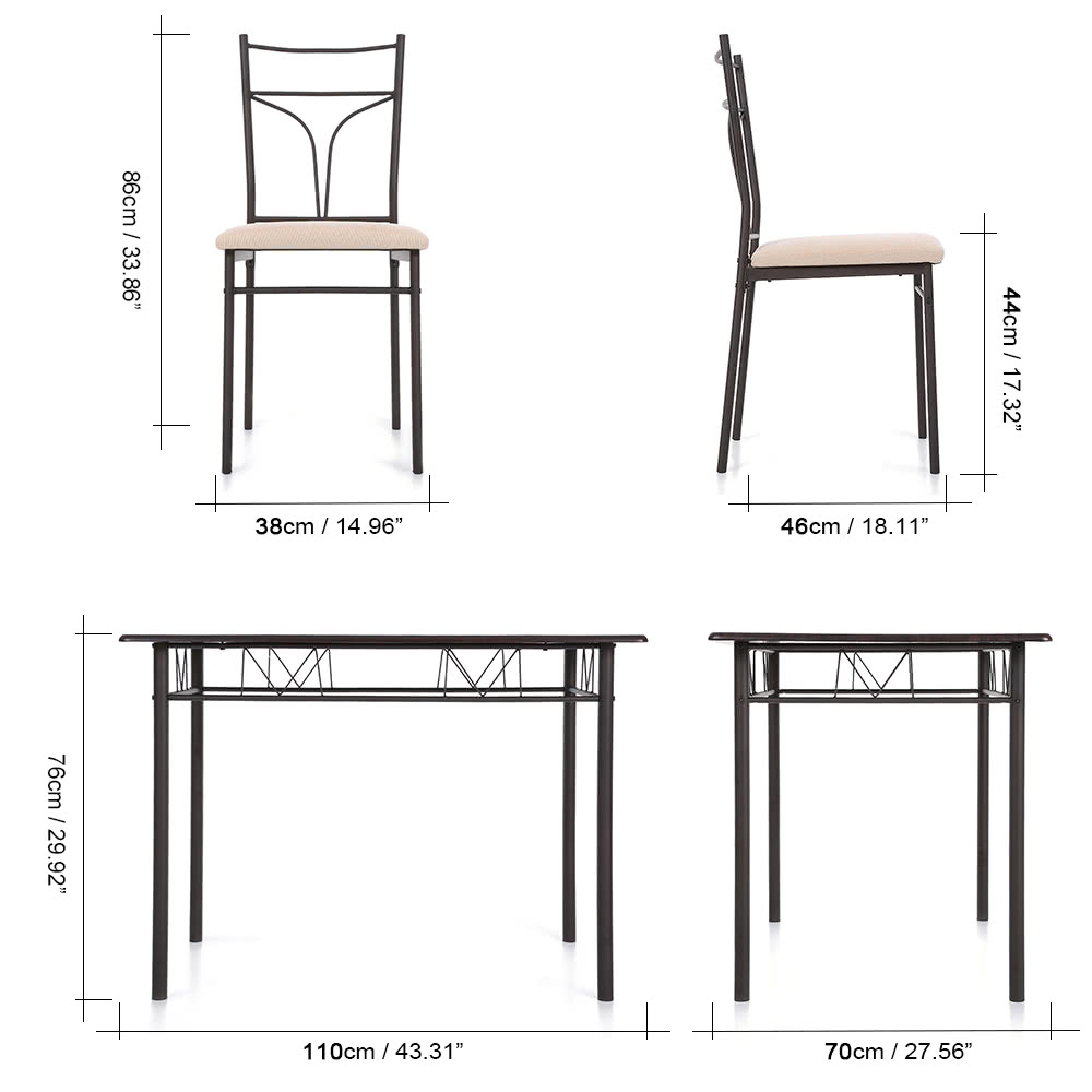Metal Frame Dining Chairs ikayaa 5pcs modern metal frame dining kitchen table chairs set