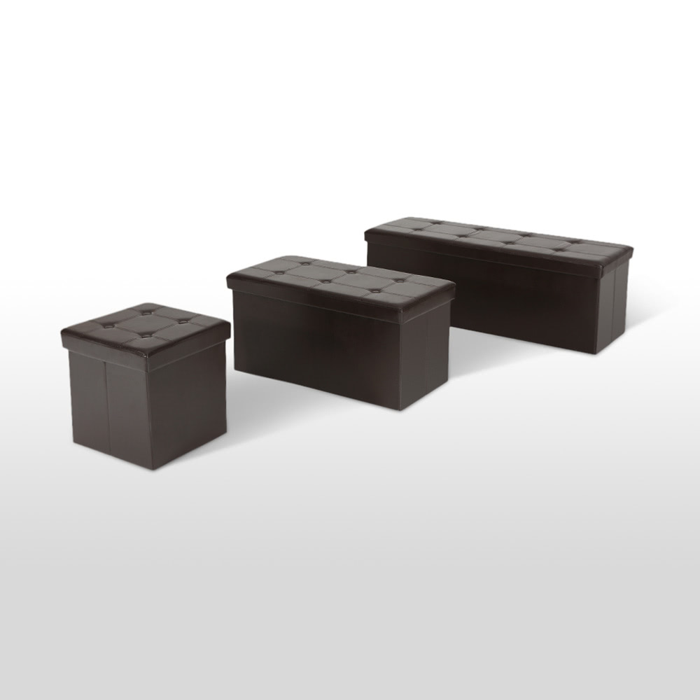 IKayaa Large Folding Faux Leather Storage Ottoman Sofa Foot Sales Online  Chocolate   Tomtop.com