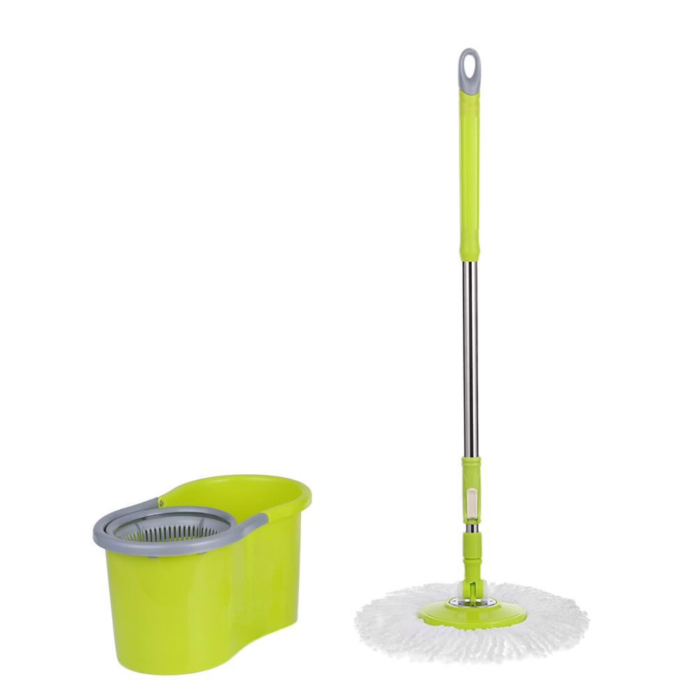 ikayaa press type stainless steel 360rolling magic spin mop u0026 bucket set rotating easywring floor mop w 2 microfiber mop heads