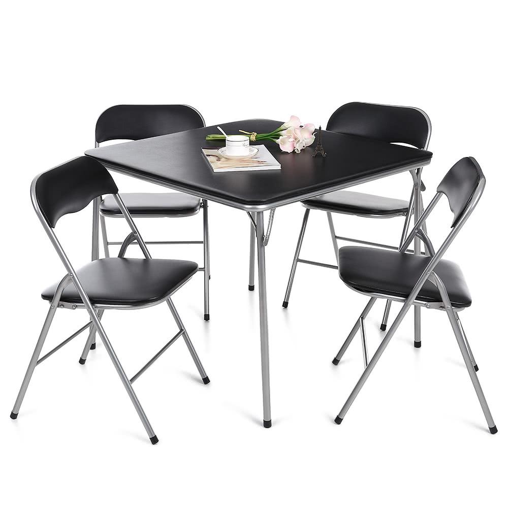iKayaa 5PCS Metal Folding Kitchen Dining Table Chair Set Sales