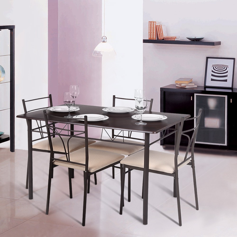 Kitchen Table Chair Set Ikayaa 5pcs Modern Metal Frame Dining Kitchen Table Chairs Set