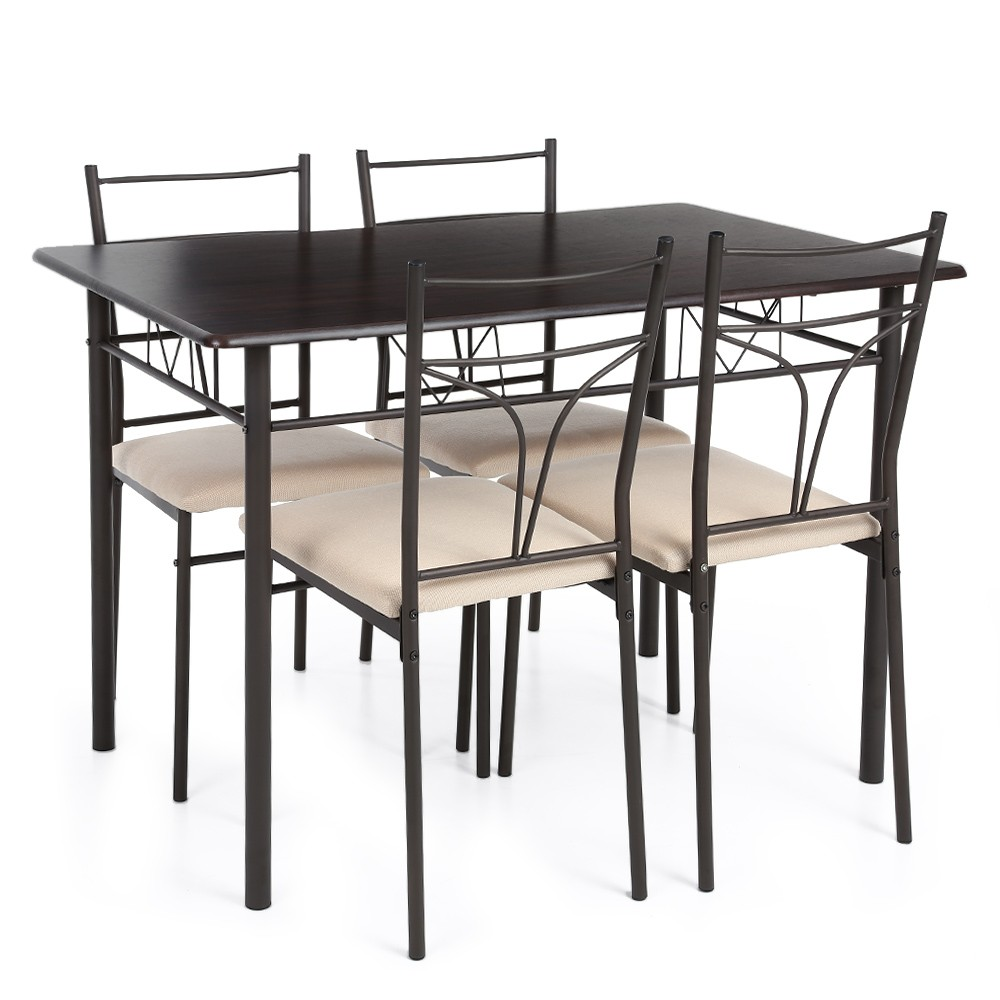 ikayaa 5pcs modern metal frame dining kitchen table chairs set