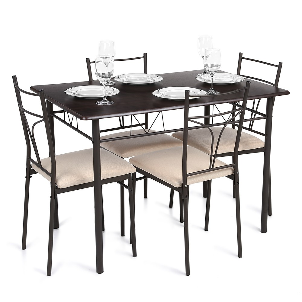 Modern Table Chairs Part - 47: IKayaa 5PCS Modern Metal Frame Dining Kitchen Table Chairs Set For 4 Person  Kitchen Furniture 120kg Load Capacity
