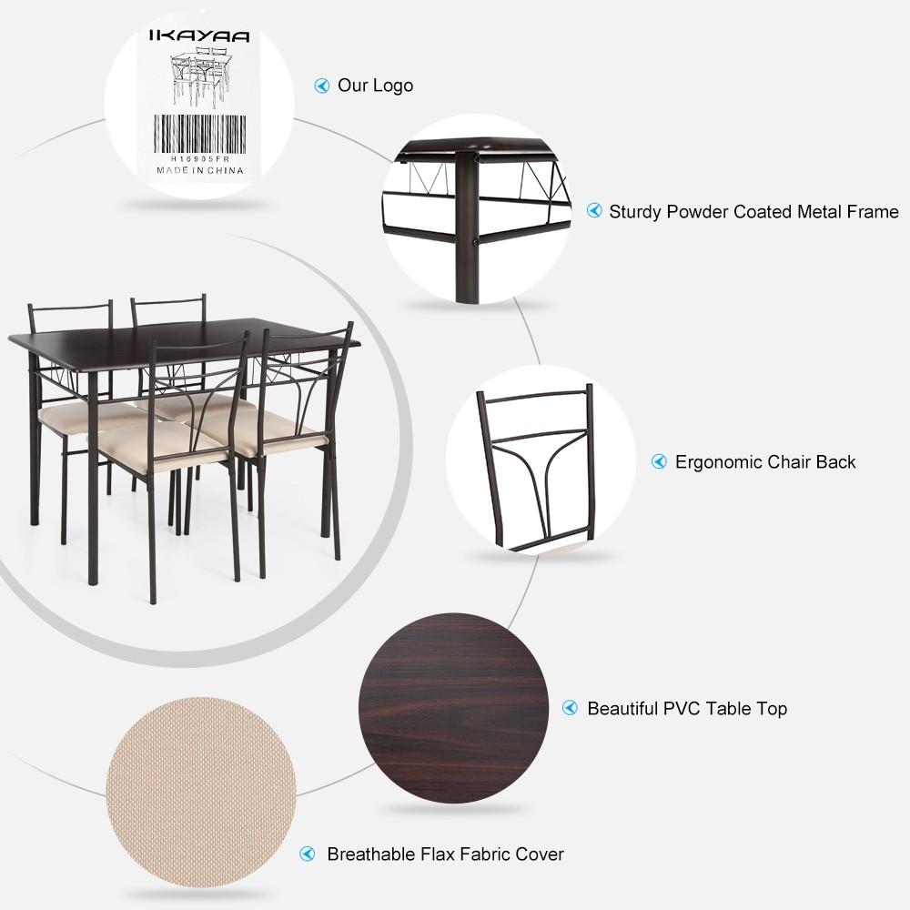 Only US 10999 brown iKayaa 5PCS Modern Metal Frame Dining – Metal Frame Dining Chairs