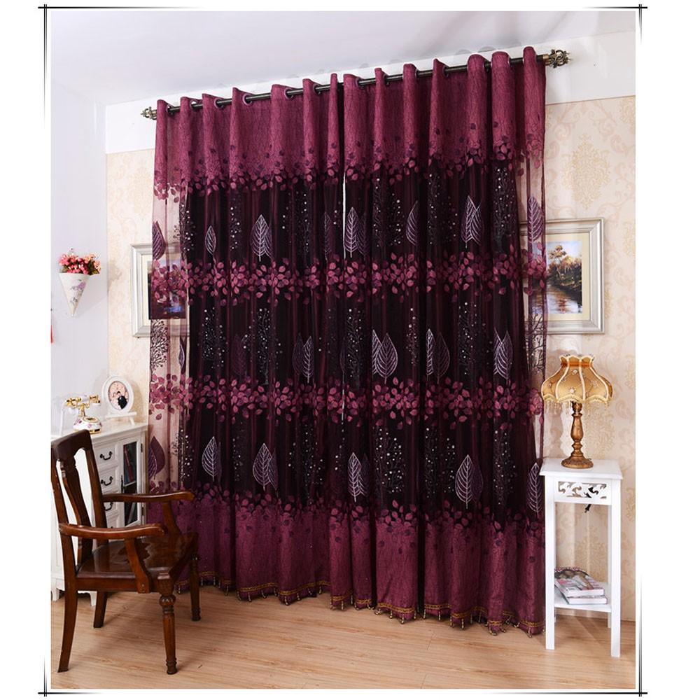 Feuilles de haut-grade européens modèle moitié ombrage grillée Rideau pour  porte fenêtre chambre décoration fenêtre dépistage pastorale Voile ...