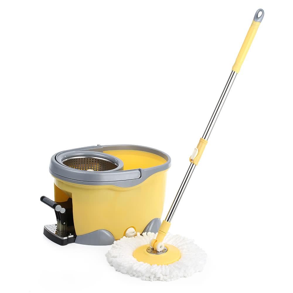 ikayaa handsfree stainless steel 360rotating spin mop bucket set with foot pedal selfwring floor mop 1 microfiber mop head scrub brush chenille mop