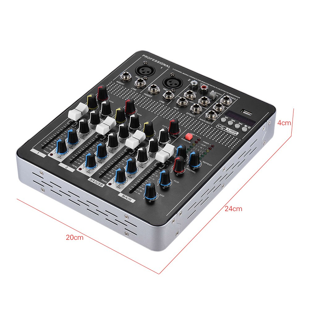professional 4 channel mic line audio mixer mixing console with sales online black. Black Bedroom Furniture Sets. Home Design Ideas