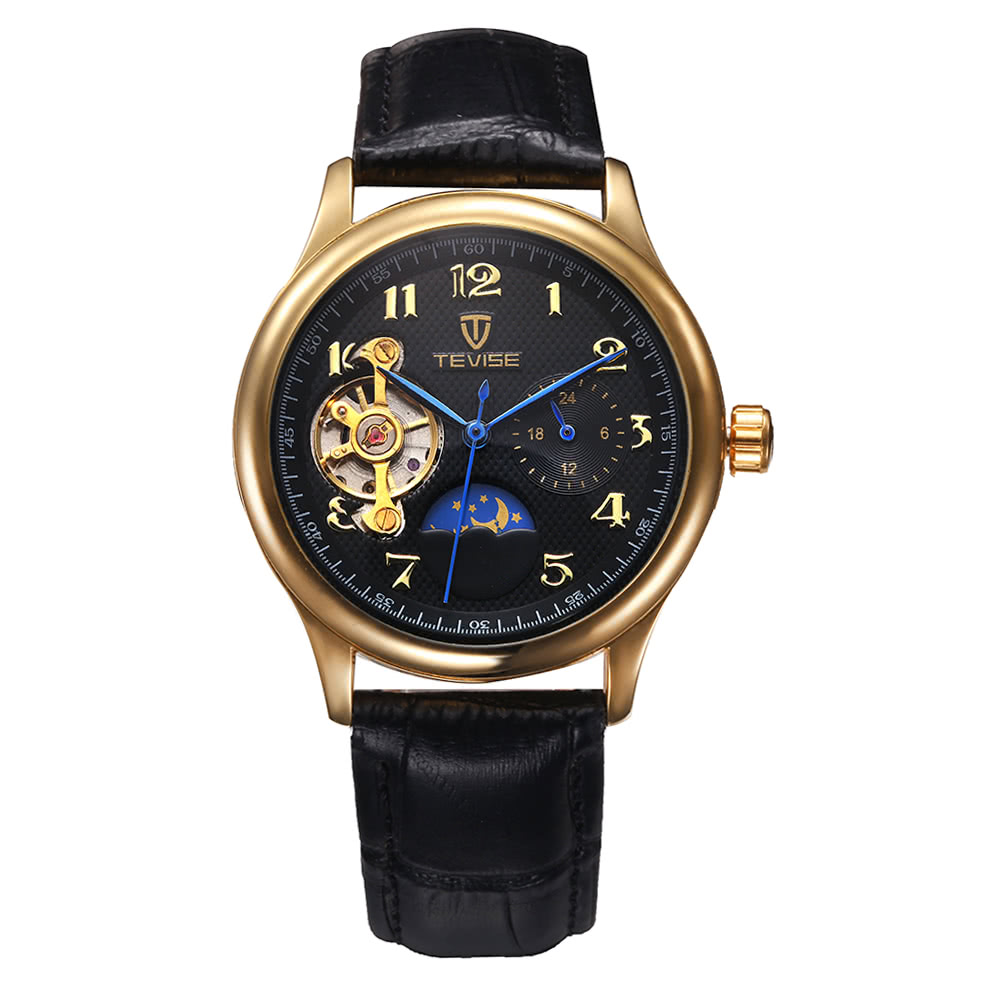 TEVISE Fashion Luxury Moon Phase Water-Resistant Automatic Men Mechanical Watch Genuine Leather Man Casual Wristwatch Self-Winding Skeleton Watch + Box