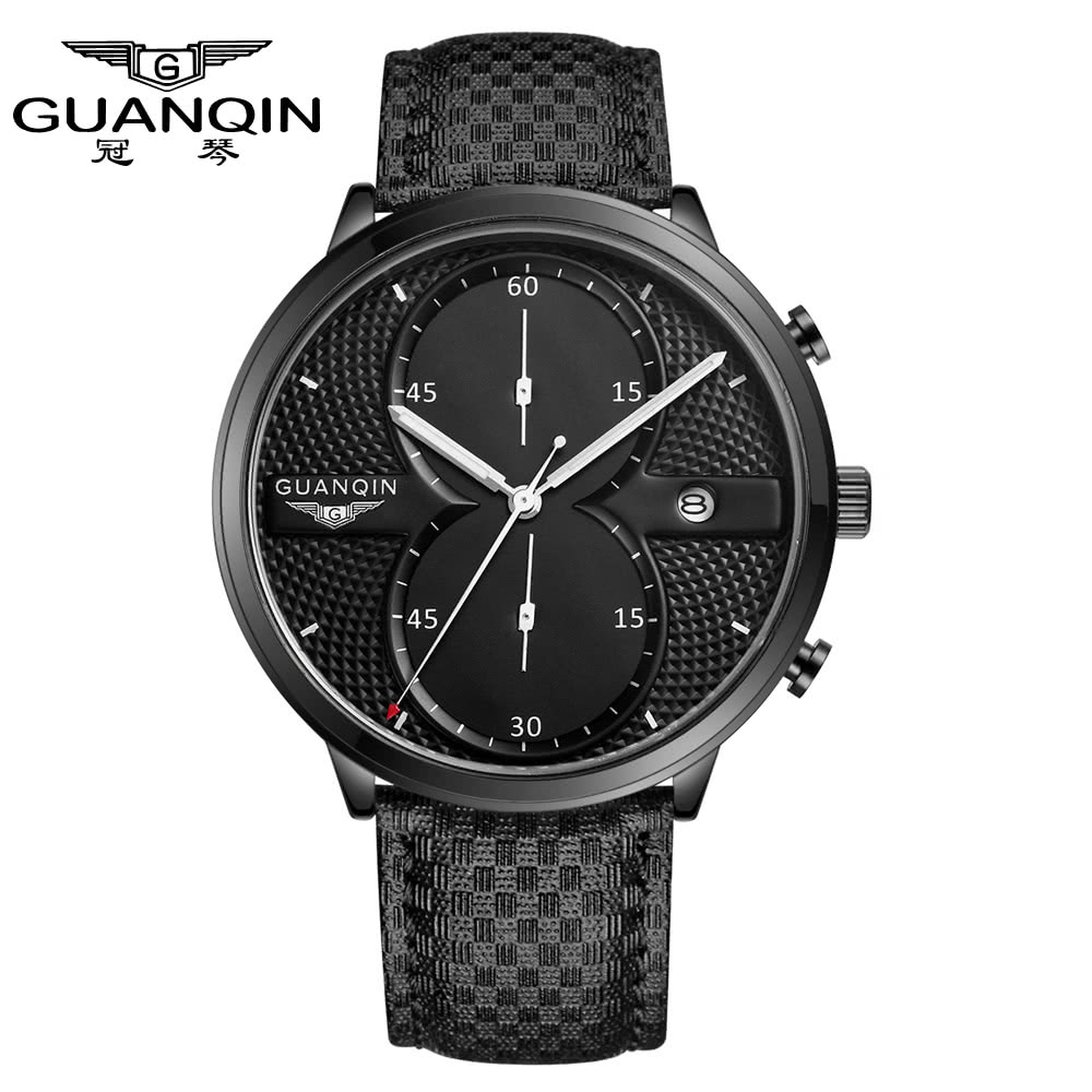 $4 Off GUANQIN 2016 Fashion Men's Luxury Top Brand Big Dial Full Black Sport Quartz Watch with Stopwatch Male ,free shipping $20.99