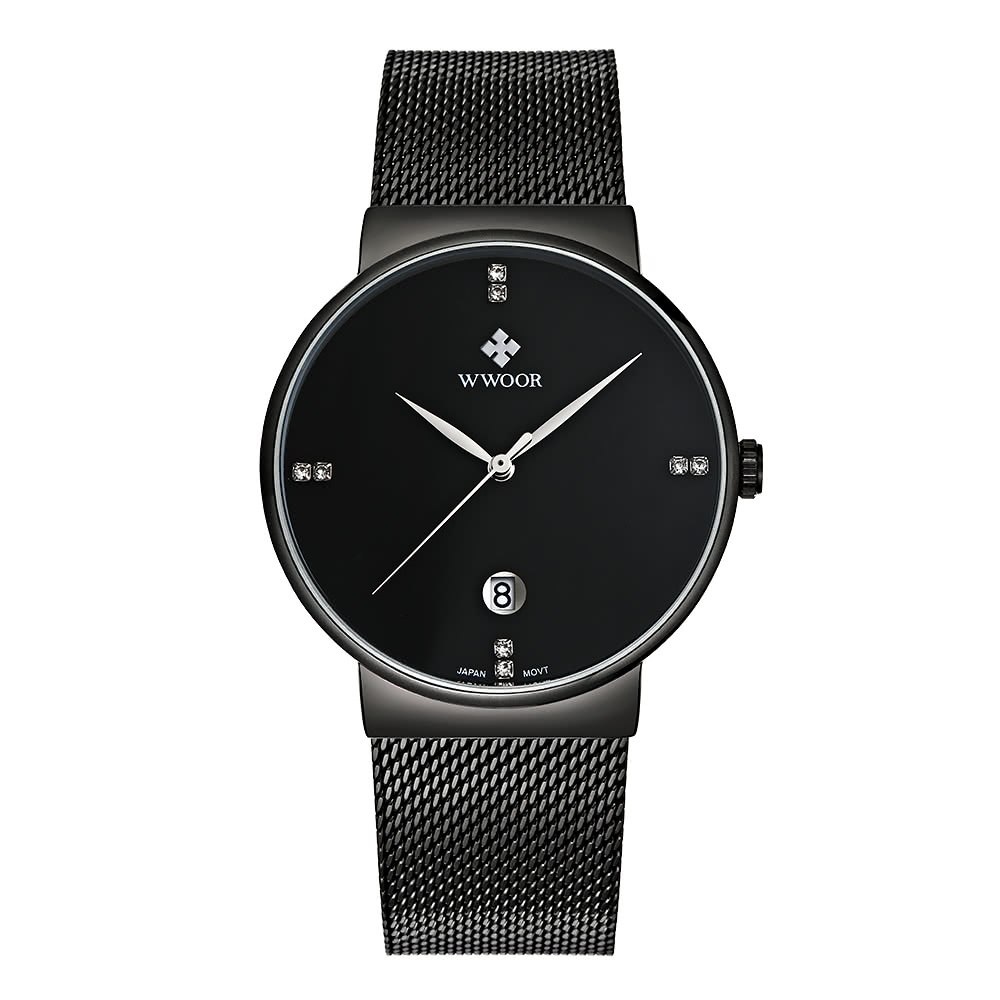$3 Off WWOOR Ultra Thin Fashion Luxury Diamond Quartz Ananlog Man Casual Stainless Steel Simplicity Men Decorative Watch + Watch Box,free shipping $14.99