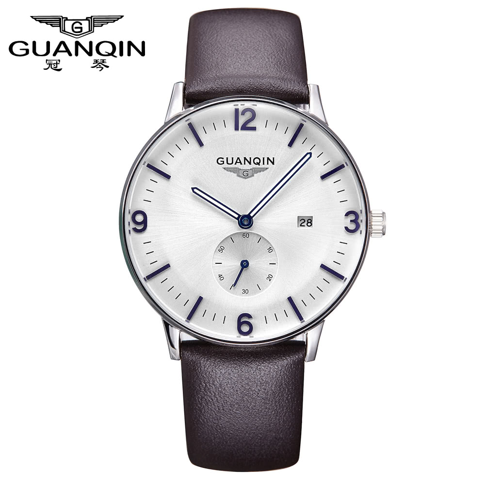 $4 Off GUANQIN Man Simple Business Fashion Waterproof Mens Watches Leather Strap Male Trend of Commercial Sports Quartz,free shipping $19.99