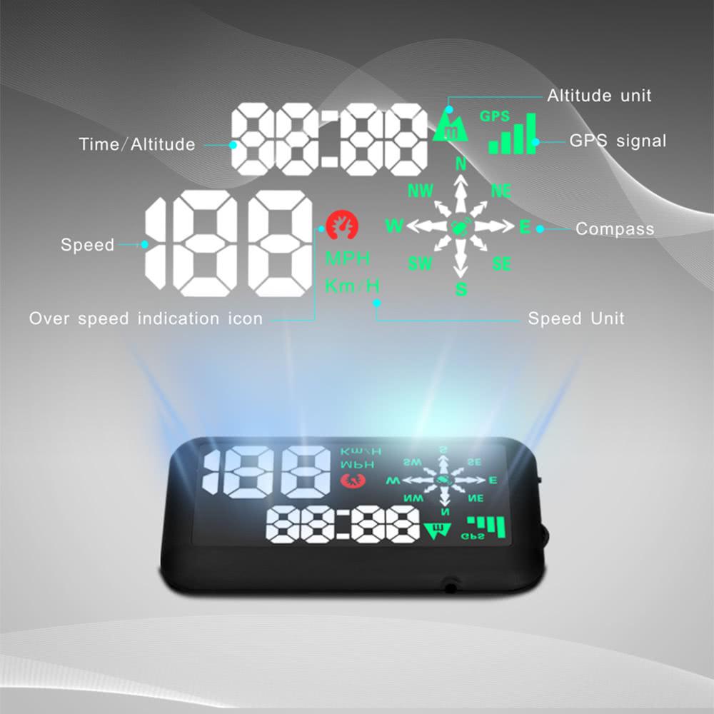 gps universel voiture hud head up display km h mph vitesse. Black Bedroom Furniture Sets. Home Design Ideas
