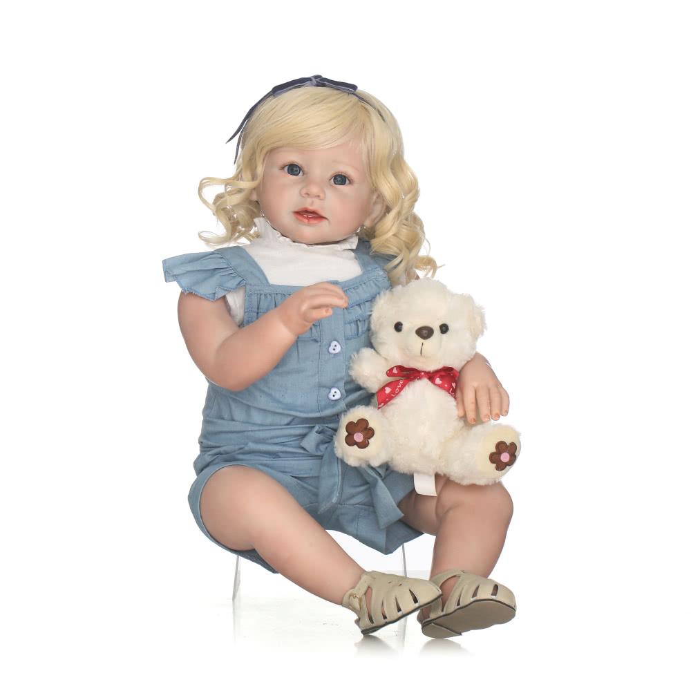 silikon reborn kleinkind puppe baby puppe m dchen mit. Black Bedroom Furniture Sets. Home Design Ideas