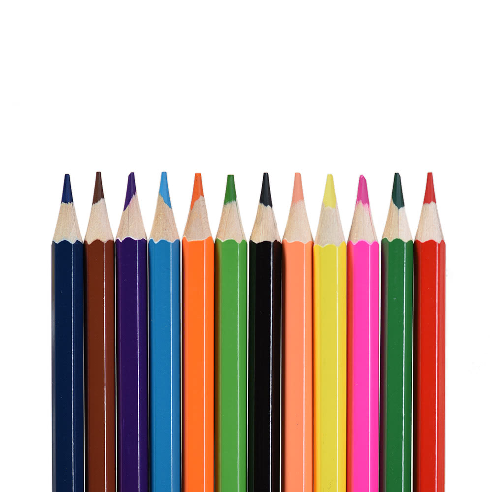 12 couleurs non toxiques dessin crayons de couleur en bois. Black Bedroom Furniture Sets. Home Design Ideas