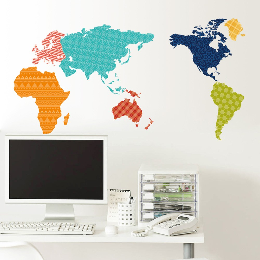 Large Colorful World Map Wall Sticker Educational Map PVC Decal Sales  Online   Tomtop.com Part 82
