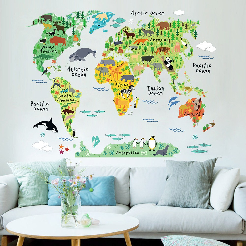 Wall Sticker Large Colorful World Map Sticker Educational Kids Room Animal  Decal Mural Art Home Decor Part 54