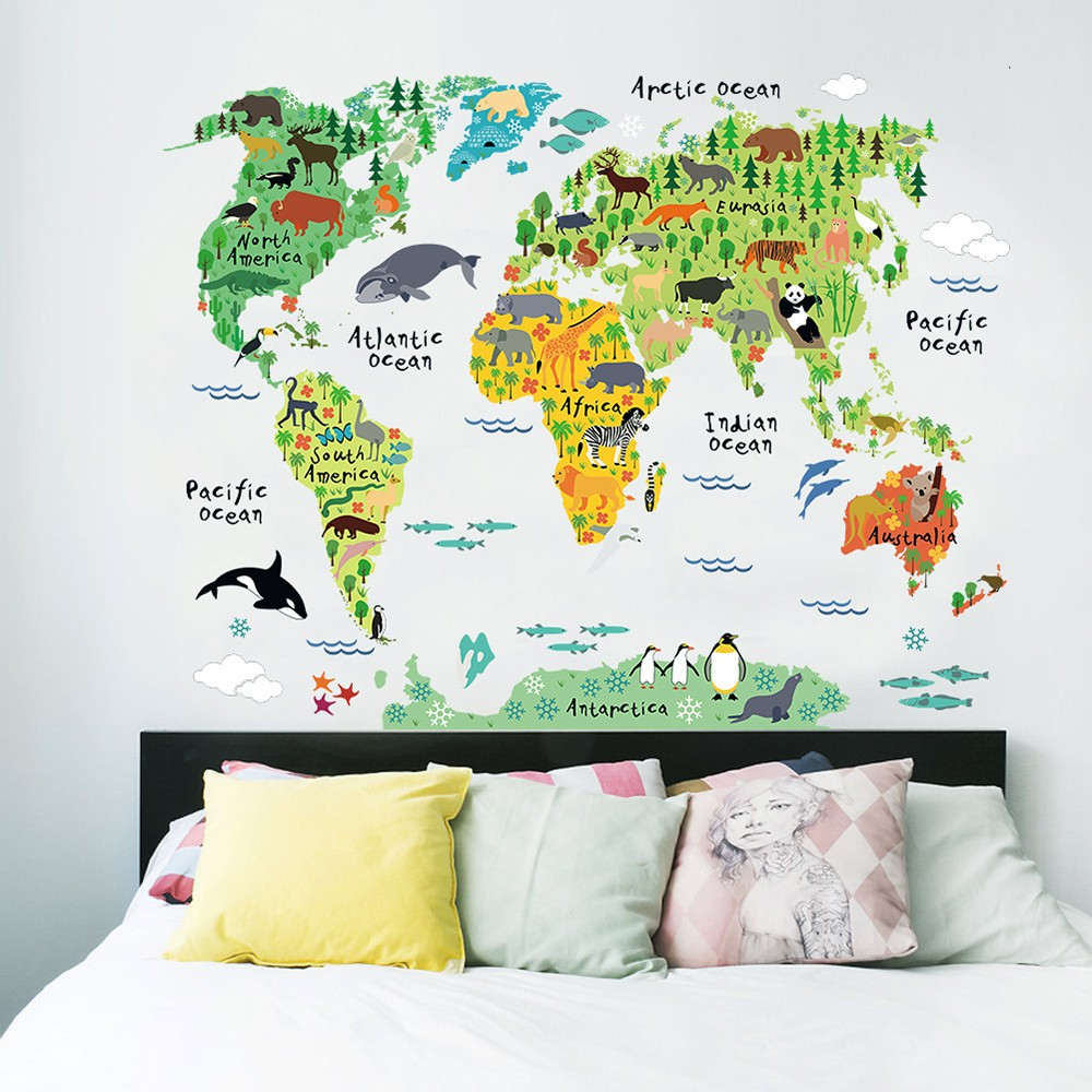Exceptional Wall Sticker Large Colorful World Map Sticker Educational Kids Room Animal  Decal Mural Art Home Decor Part 24