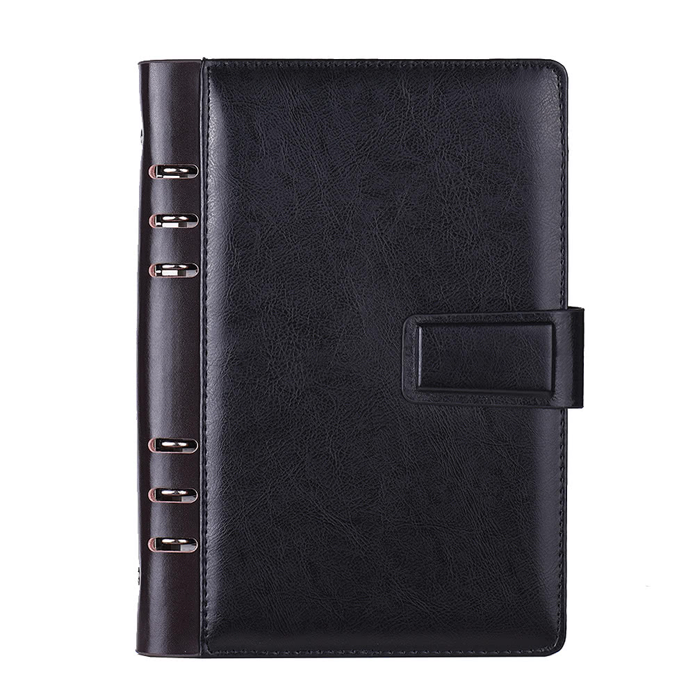 A5 PU Loose-leaf Spiral Notebook Binder Business Planner Dairy Agenda Vintage Office Stationery With Card Photo Slot Pen Holder Magnetic Cover Gift Without Pen