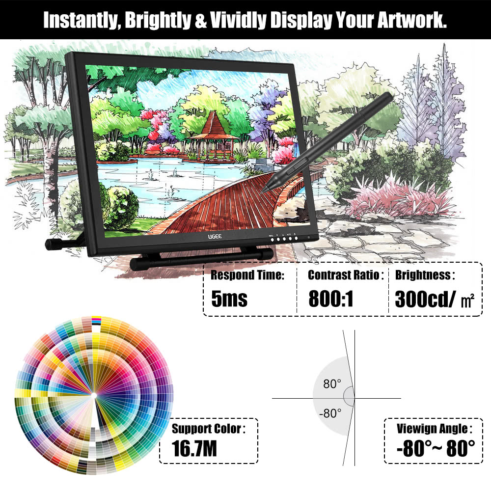 Ugee 1910B 19 5080LPI Graphics Drawing Tablet IPS Screen Monitor Display  Stand Adjustable w/ 2 * In | PrestoMall - Lighting Bulb & Component