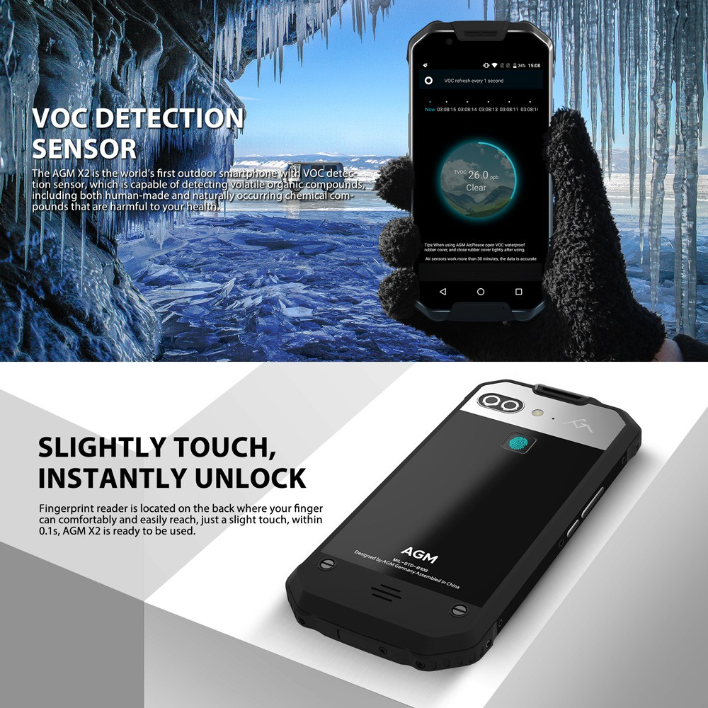 22% OFF AGM X2 Tri-proof 4G IP68 AMOLED Smartphone 6+64G,limited offer $469.99