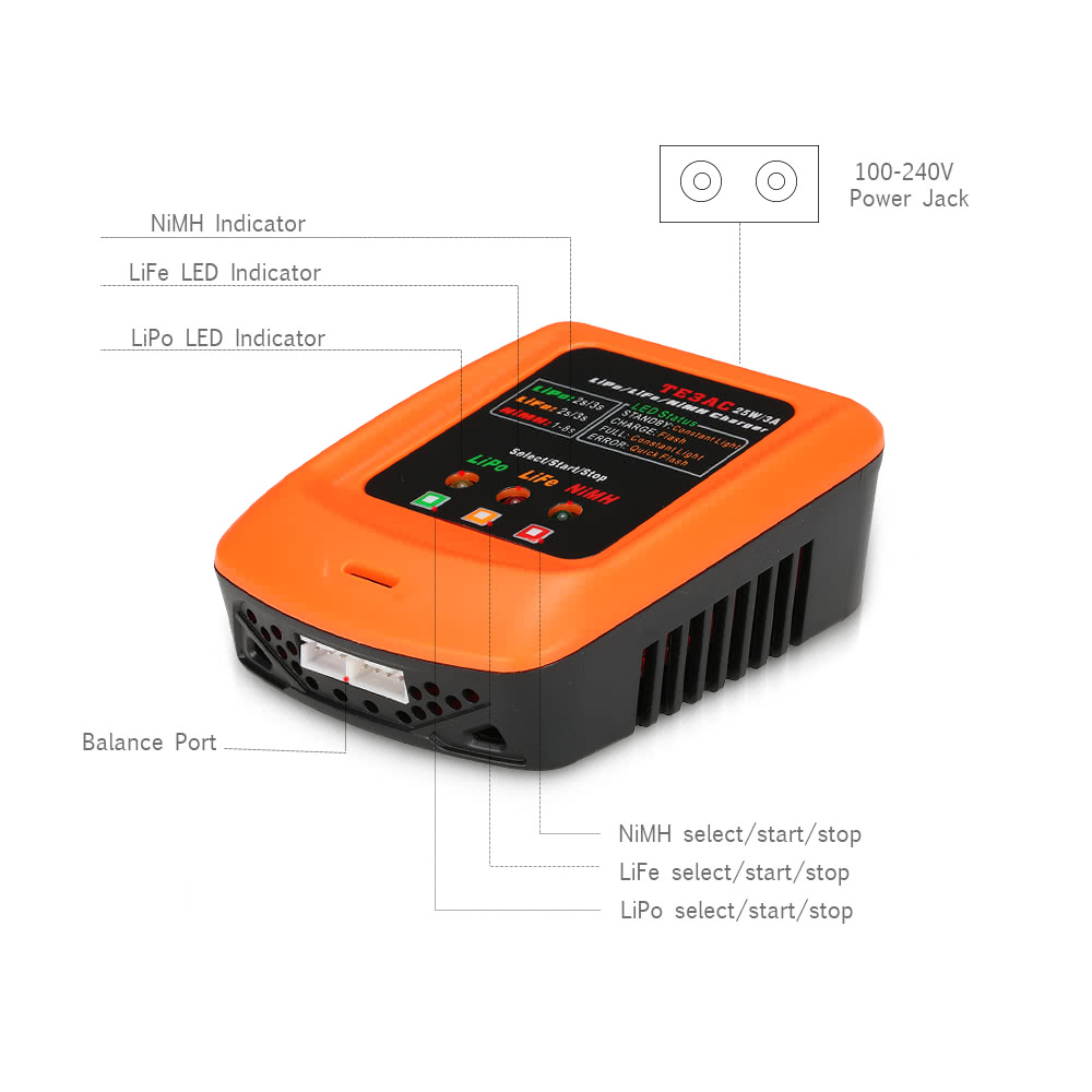 Te3ac 25w 3a Professional Balance Charger For 2s 3s Lipo