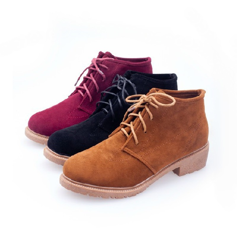 New Vintage Women Ankle Boots Lace Up Flat Heel Flock Shoes red ...