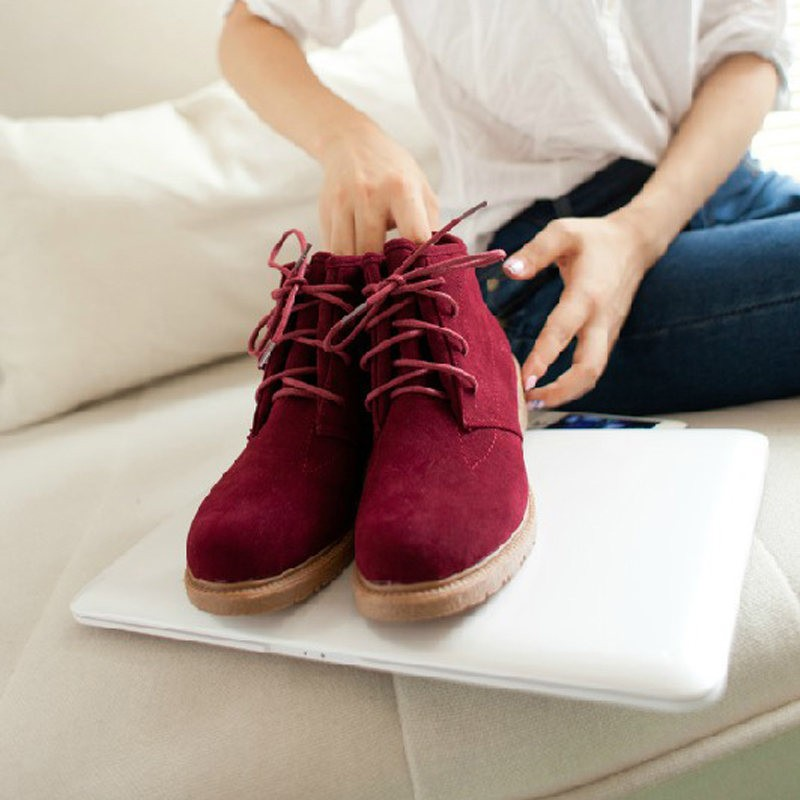 Only US$9.92, burgundy New Vintage Women Ankle Boots Lace Up Flat ...